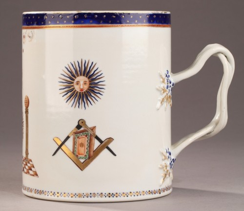 18th century Masonic china mug decorated for an English Loge. -