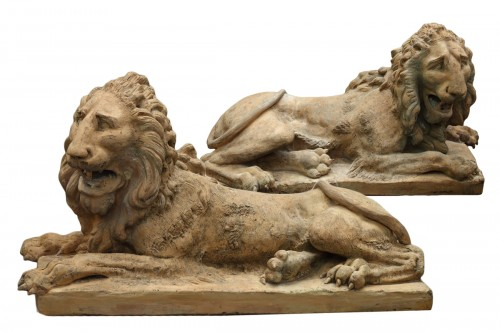 Pair of terracota lions late 18th century early 19th century