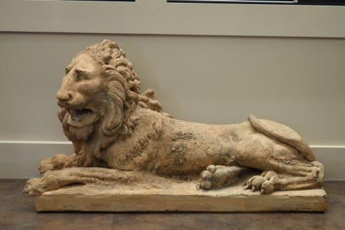 Pair of terracota lions late 18th century early 19th century -