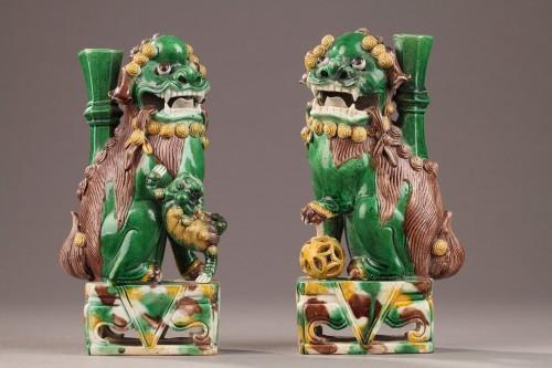 Antiquités - Pair of Fo dogs, Kangxi (1662 - 1722)