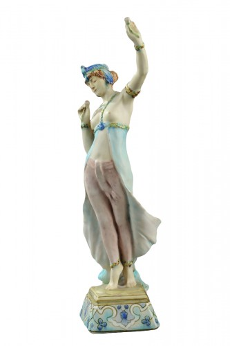 A Lachenal figure of a woman dancing. Circa 1890 - 1900