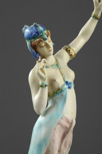 Porcelain & Faience  - A Lachenal figure of a woman dancing. Circa 1890 - 1900