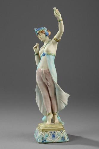 A Lachenal figure of a woman dancing. Circa 1890 - 1900 -