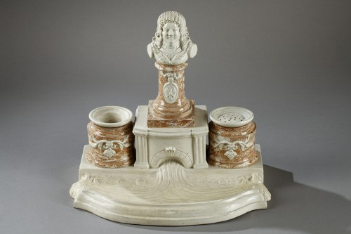 "Porcelain & Faience  - Inkstand in ""Faience Fine"" from Gerardmer"