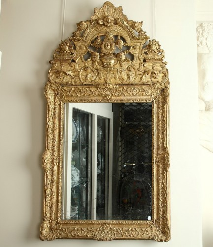 17th Century French Carved and Giltwood Wall Mirror - Mirrors, Trumeau Style Louis XIV