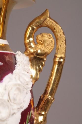 Paris Porcelaine, pair of vases circa 1810 - Porcelain & Faience Style Empire
