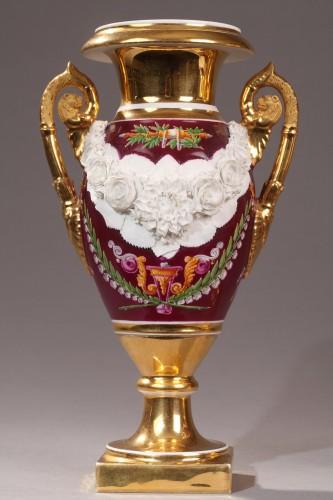 Empire - Paris Porcelaine, pair of vases circa 1810