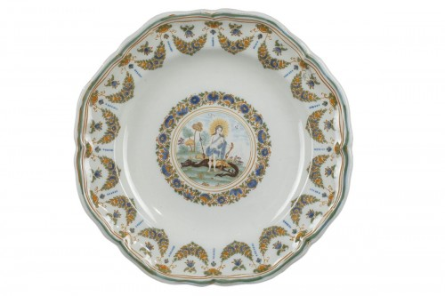 Faience plate from Moustiers, 18th century.