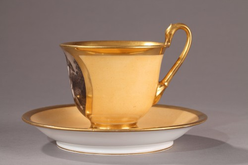 Large cup and saucer, begining of 19th century - Porcelain & Faience Style