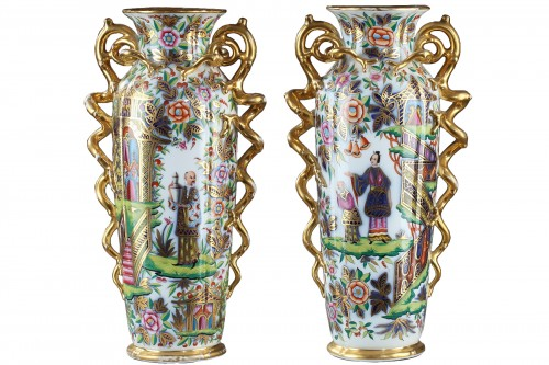 Pair of 19th century Bayeux polychrome enamel vases