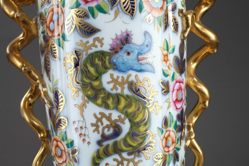 Pair of 19th century Bayeux polychrome enamel vases -