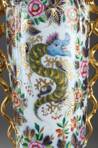 19th century - Pair of 19th century Bayeux polychrome enamel vases