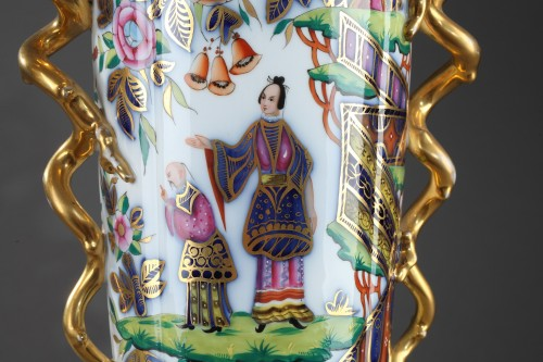 Antiquités - Pair of 19th century Bayeux polychrome enamel vases