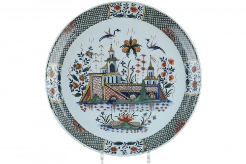 Large faience dish from Rouen, circa 1735 - 1740