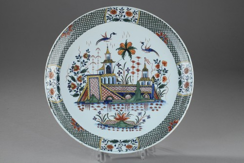 Large faience dish from Rouen, circa 1735 - 1740 -