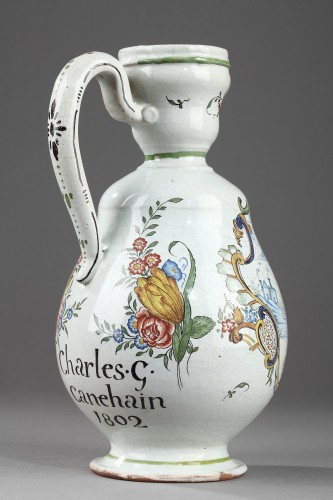 - Faience  Cider jug from Sinceny or Rouen Circa 1802