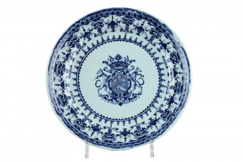 Blue and white faience dish from Rouen circa 1710