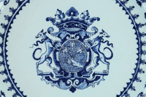 Porcelain & Faience  - Blue and white faience dish from Rouen circa 1710