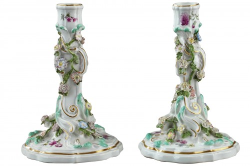 Mid 18th century Meissen candlesticks