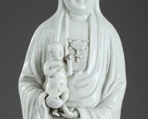 Porcelain & Faience  - CHINA : Kangxi Large Blanc de Chine Guanying for the Dutch market.