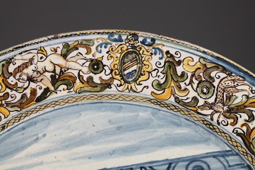 Mid 17th century faience dish from Castelli (Italy) - Porcelain & Faience Style