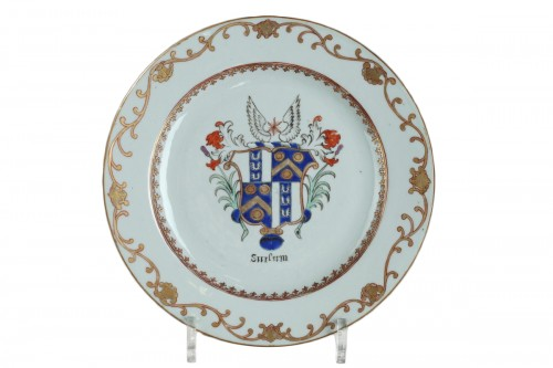 Armorial chinese porcelain plate circa 1765