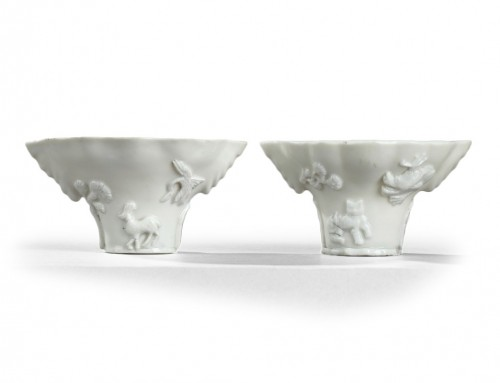 CHINA. Kangxi (1662 - 1722) Blanc de Chine pair of Libation cups.