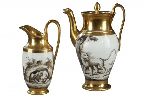 Early 19th century porcelain coffee pot and milk jug