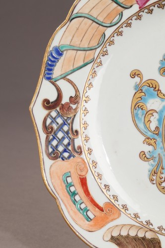 Porcelain & Faience  - Chinese armorial plate. Coats of arms of The Guillot Family Circa 1742