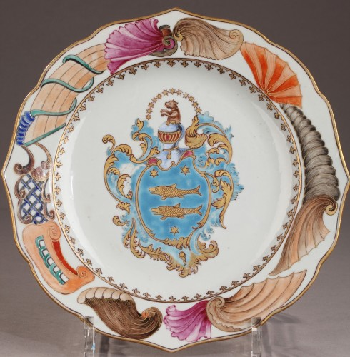 Chinese armorial plate. Coats of arms of The Guillot Family Circa 1742 -