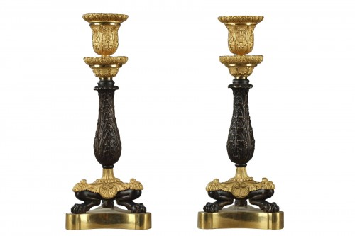 Paire of candlesticks, bronze early 19th century