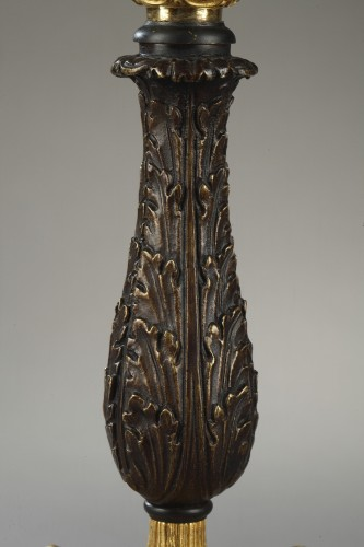 Paire of candlesticks, bronze early 19th century - Lighting Style Restauration - Charles X