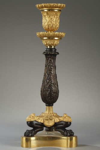 Paire of candlesticks, bronze early 19th century - Restauration - Charles X