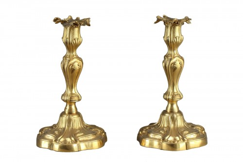Paire of gilded bronze candlesticks, middle of 18th century