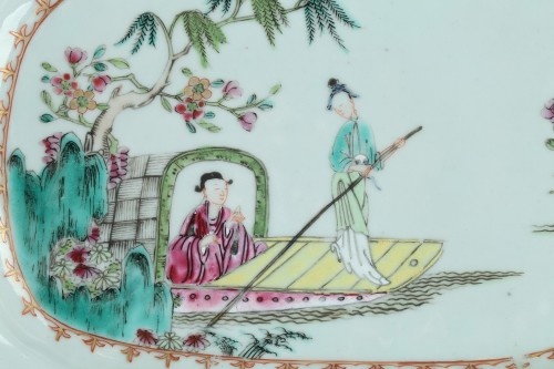 Famille rose rectangular dishes China Qianlong period 1736 - 1795 - Porcelain & Faience Style