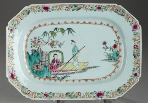 Famille rose rectangular dishes China Qianlong period 1736 - 1795 -