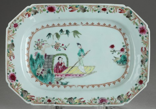 18th century - Famille rose rectangular dishes China Qianlong period 1736 - 1795