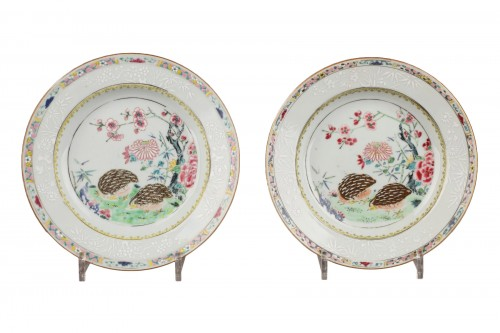 Two plates decorared with quails, China 18th century