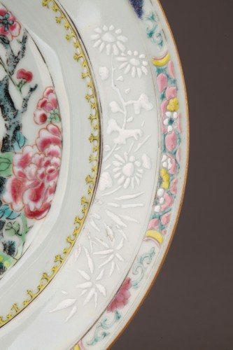 Two plates decorared with quails, China 18th century - Porcelain & Faience Style