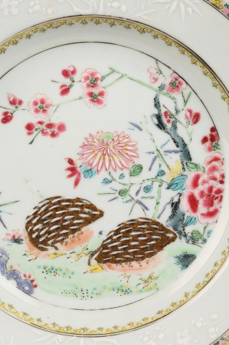 Porcelain & Faience  - Two plates decorared with quails, China 18th century