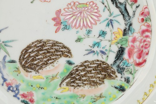 Two plates decorared with quails, China 18th century -