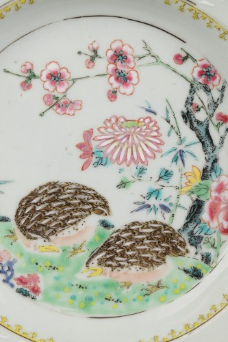 18th century - Two plates decorared with quails, China 18th century