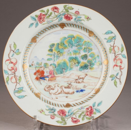 Rare chinese export ware plate, 18th century - Porcelain & Faience Style