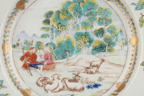 18th century - Rare chinese export ware plate, 18th century