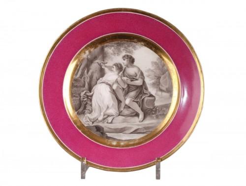 Paris porcelain plate circa 1805 - 1810