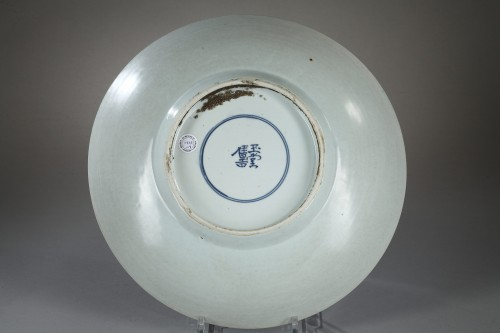 Porcelain & Faience  - Large Saucerdish decorated in underglazed blue. Shunzhi period 1644 - 1661