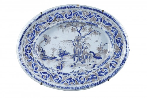 Large Nevers faience dish second half of 17th century