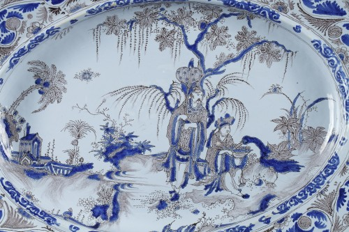 17th century - Large Nevers faience dish second half of 17th century