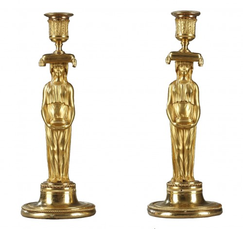 Pair of guilt candelabra, begining of 19 th century