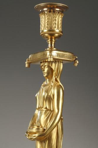 19th century - Pair of guilt candelabra, begining of 19 th century
